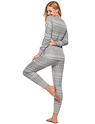 L'amore Ladies Fitted Thermal Pajama Set Contrast Patterned Knitted PJS Sets