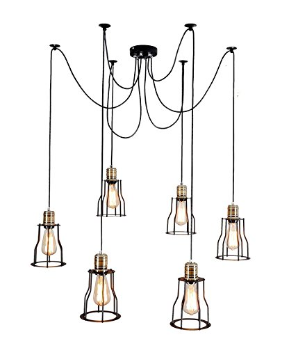 Lightess Vintage Large Barn Chandelier Ceiling Lighting with 6 Lights Painted Finish