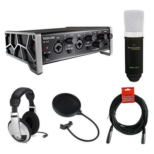 Tascam US-2x2 2-Channel USB Audio Interface Kit with Marantz MPM-1000 Large-Diaphragm Condenser Microphone, Pop Filter, 20' XLR Cable & Stereo Headphones 20' XLR Cable & Stereo Headphones TAUS2X2K3