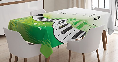 Music Decor Tablecloth by Ambesonne, Music Piano Keys Curvy Fingerboard Summertime Entertainment Flourish , Dining Room Kitchen Rectangular Table Cover, 60 X 84 (Music Themed Tablecloths)