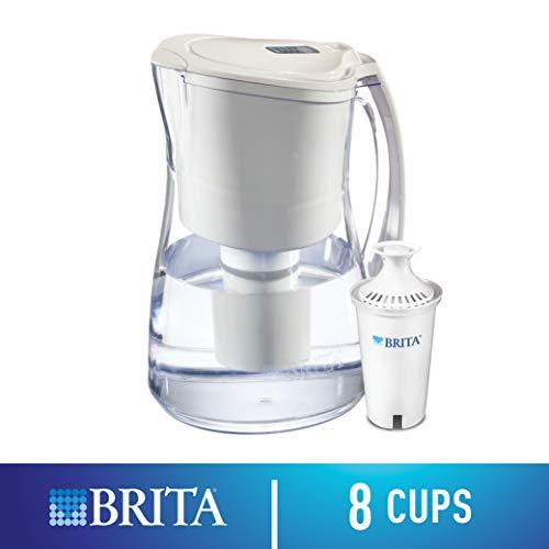 Brita Medium 8 Cup Water Filter Pitcher with 1 Standard Filter, BPA Free - Marina, White