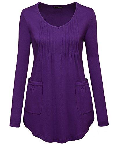 Flare Tunic, Miurus Womens Purple X Large Ladies Tops and Blouses Long Sleeve Scoop Neck Pleated Front Asymmetrical Oversized Tunic with Pockets Casual Office Work Business Tunic Sweatshirt Shirts