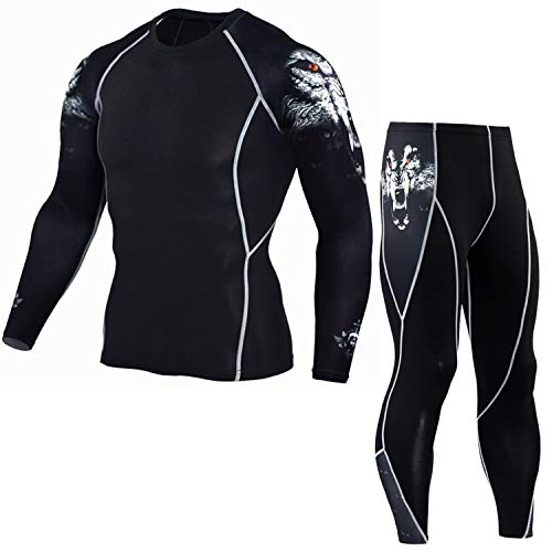 Man Tshirt Compression 3D Printed walf Skull Bodybuilding Crossfit Long Sleeve Shirts Leggings Tops Suits,1,XXXL (For Stacker Log Sale)