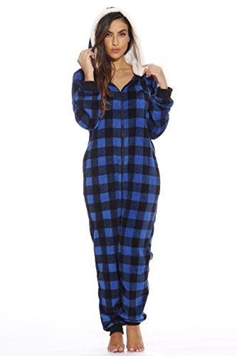 Just Love Adult Onesie/Pajamas,Medium,Royal Buffalo Plaid -