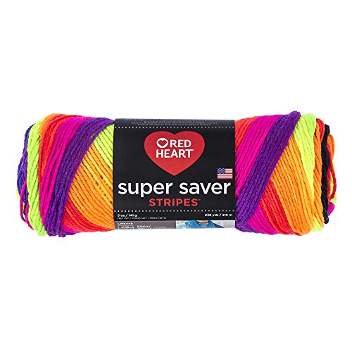 RED HEART E300.4970 Super Saver Yarn, 5 Ounces, Bright Stripe
