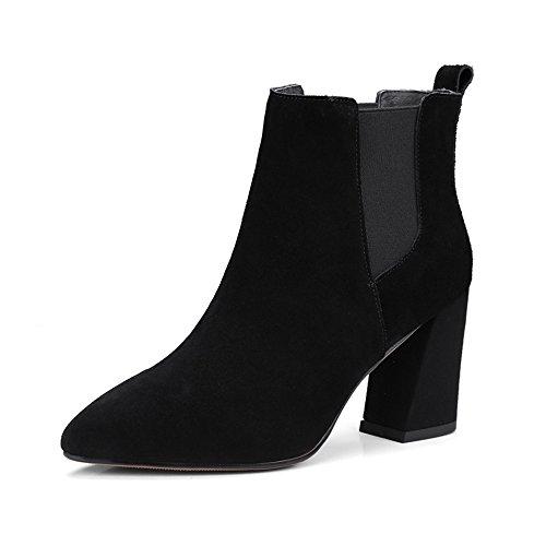Damen Stiefel Freizeitschuhe Kurzschaft Blockabsatz High Heels Ohne Verschluss Herbst Elegant Schick 8cm gefüttert Schwarz