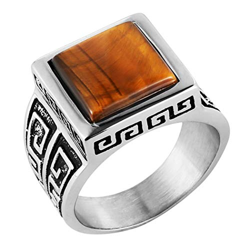 HZMAN Men's Vintage Brown Tiger's Eye Ring Stainless Steel Band (Square, 11) (Stainless Steel Square Ring)