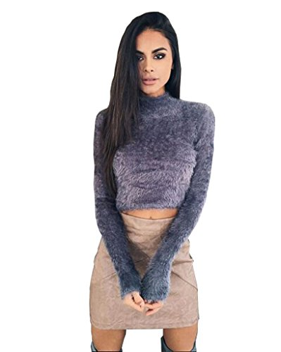 Longwu Women's Fashion Fluffy Mohair Midriff-baring Jumper Knit Crop Top Sweater, Grey, One Size (Gold Mohair)