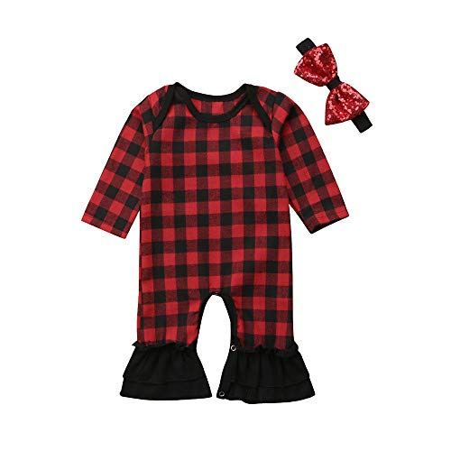 2Pcs Newborn Infant Baby Girl Red Plaid Christmas Jumpsuit Long Sleeve Bell-Bottom Romper with a Sequin Headband Xmas Outfits (Red Plaid, 0-3 M) ()