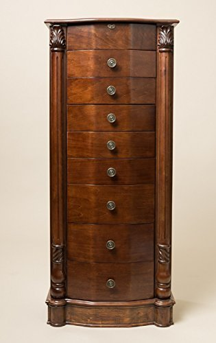 Hives And Honey Large Floor Standing 8 Drawer Wooden Jewelry Armoire With  Mirror U0026 Lock,