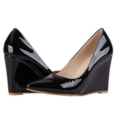 Päivittäiseen Mustan Korkeat Wedge Merumote Selin Teräväkärkiset Kengät Toe Käyttöön Patentti Naisten Pumput HFOqwvY