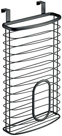 41YrBQ557IL. AC mDesign Metal Over Cabinet Kitchen Storage Organizer Holder or Basket - Hang Over Cabinet Doors in Kitchen/Pantry - Holds up to 50 Plastic Shopping Bags - Matte Black    Transform your under-sink and kitchen cabinets from cluttered and crowded to streamlined and organized with the Kitchen Cabinet Storage Organizer Basket from mDesign. Each organizer hangs over cabinets doors for instant storage. The large basket provides plenty of room to store up to 50 plastic grocery bags in one convenient place. Hang inside cabinets for discreet storage, or on the outside of doors to make grabbing what you need quick and easy.