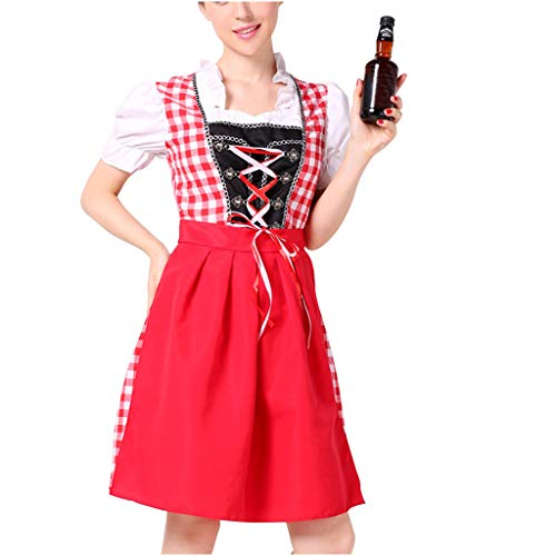 Women Oktoberfest Cosplay Outfits,Red Plaid German Dirndl Dress Short Seleeve Anime Cosplay Maid Costumes Halloween Carnival (Red, XL)