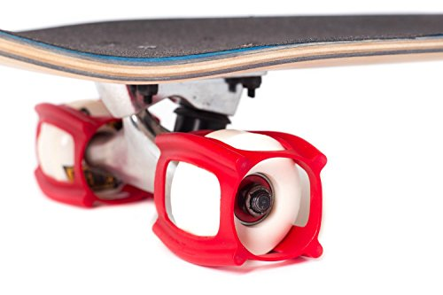 SkaterTrainer, Get Skateboarding Tricks Fast with this Skate Tool for your Complete Skateboard, an Innovative Accessory for your Wheels, Red (Tape Lightning Grip Skateboard)