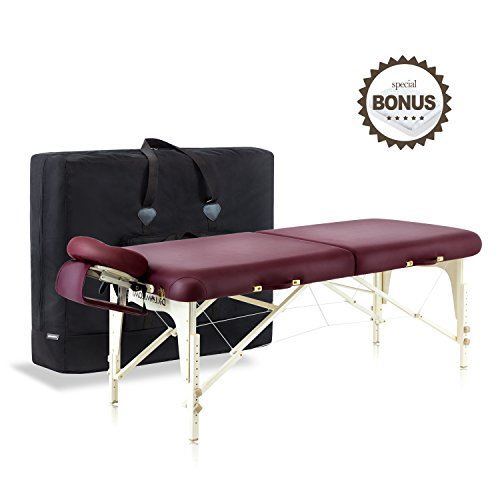 Dr.lomilomi Delux Maple Hardwood Portable Massage Table Spa Bed 101 Package (101, Burgundy)