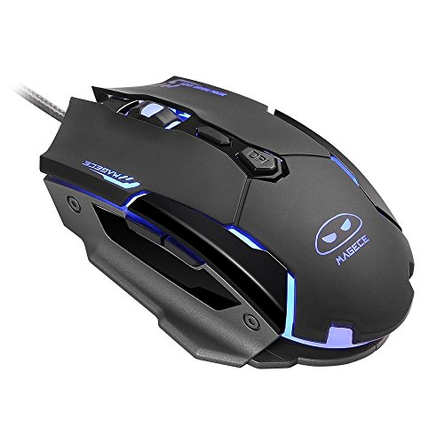 Magece G2 Gaming Mouse /Mice with Wired Mental Panel 4 Colors LED Light 6 Buttons 4 DPI Levels for PC Mac (Black) by Magece