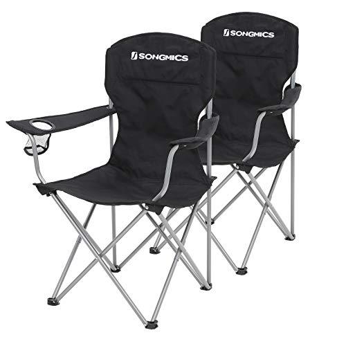 SONGMICS Campingstoel, set van 2, inklapbaar, comfortabel, klapstoel met robuust frame, belastbaar tot 150 kg, met…