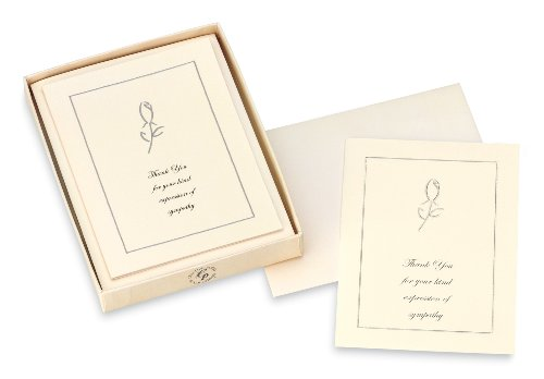 CR Gibson Box of 10 Sympathy Acknowledgment Note Cards, Silver Rose (CST-3914)