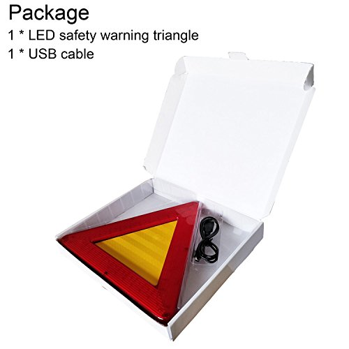 WELLHOME Roadside Red Emergency Safety Triangle Reflective Kit for Vehiclesr,2 Modes Lasting Lighting and Flicker Lighting,9.05 Inch - 1 Pack by WELLHOME (Image #2)