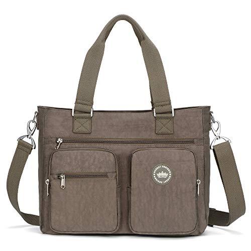 Pocket Lined Fully Tote Two (Crest Design Water Repellent Nylon Shoulder Bag Handbag, 14 inch Laptop Bag Notebook Briefcase Travel Work Tote Bag (Grey))