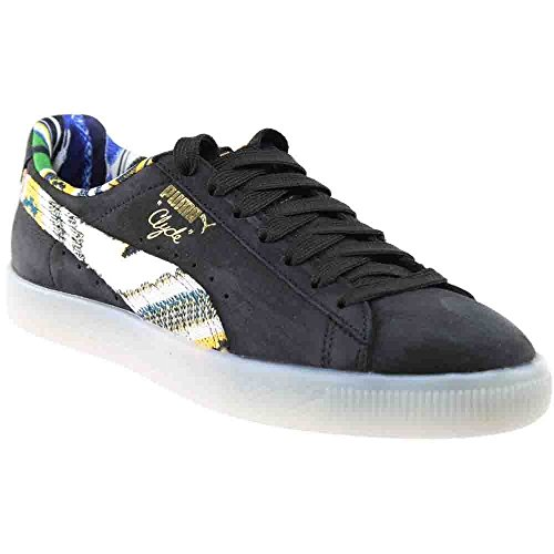 (PUMA Clyde Coogi FS Mens Black Leather Lace Up Lace Up Sneakers Shoes 10)