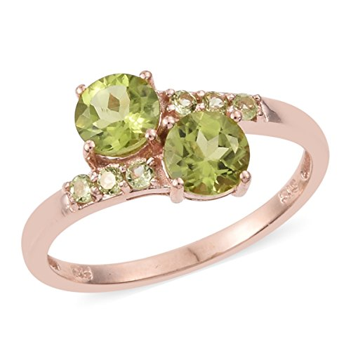 Sterling Silver Vermeil Ring (925 Sterling Silver Vermeil Rose Gold Plated 1.5 cttw Round Peridot Ring Size 6)