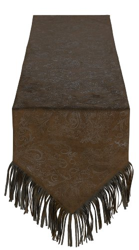 HiEnd Accents Faux Tooled Leather Western Table Runner - Leather Table Runner