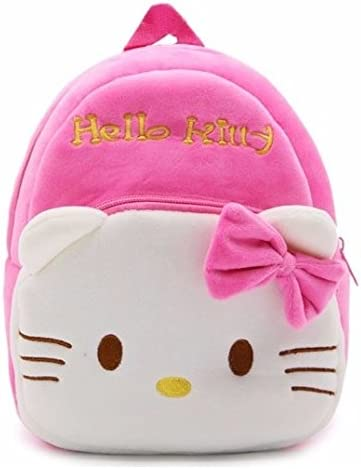 New Cute Cartoon Characters Kids Plush Backpack with Plush Toy Cool School Bag Gifting (Hello Kitty)