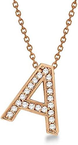 Collar personalizado con incrustaciones de diamantes en forma de letra inicial Collar 14k en oro rosa, colgante inicial personalizado