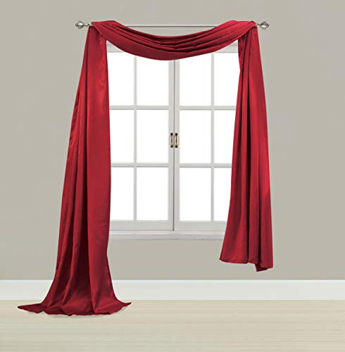 """EliteHomeProducts Satin Window Scarf,Swag Valance, Fully Stitched & Hemmed (Red, 55"""" X 216"""")"""