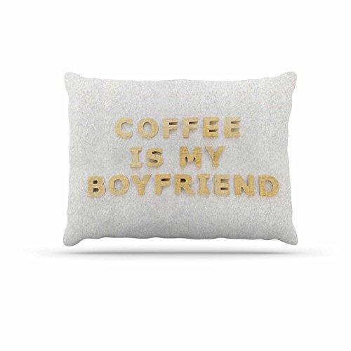 KESS InHouse Kristi Jackson ''coffee is My Boyfriend'' Typography Beige Dog Bed, 30'' x 40'' by Kess InHouse