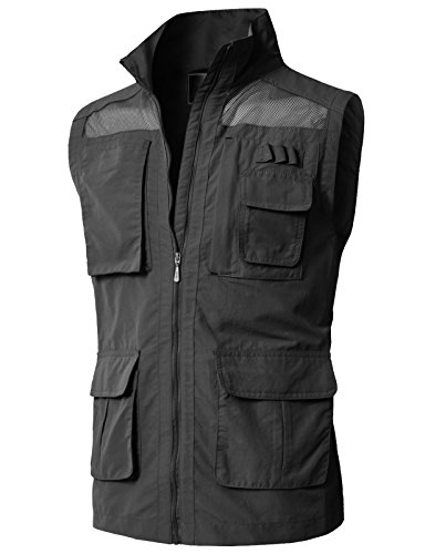 H2H Mens Pockets Jacket Outdoors Travels Sports Vest Tops Charcoal US L/Asia XL (KMOV0151)