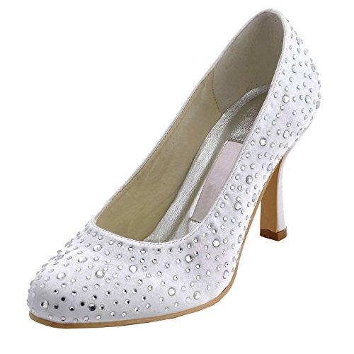 Minishion Gymz685 Kvinna Sparkle Satin Kväll Party Prom Brud Bröllop Skor Pumpar Sandaler Flatfs White-9 Cm Klack