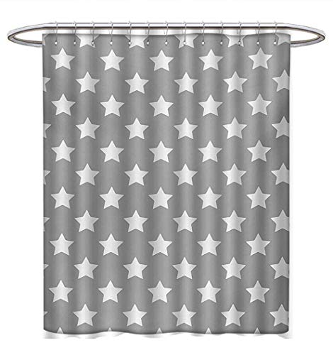 Anhuthree Star Shower Curtains Digital Printing Big Stars Pattern Monochrome Artful Modern Baby Nursery Design Starry Night Themed Custom Made Shower Curtain W72 x L84 Grey White ()