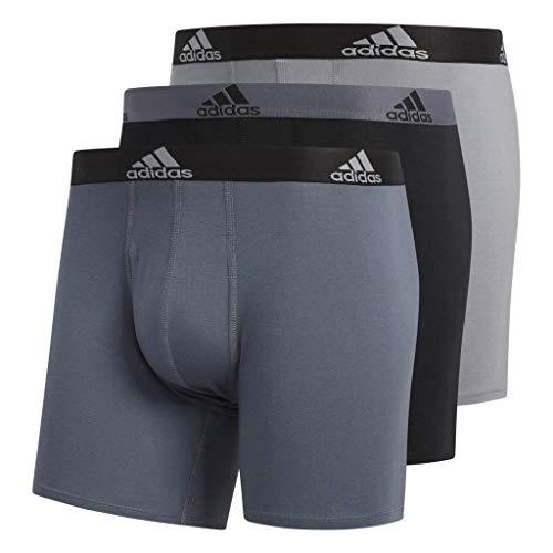 (adidas Men's Stretch Cotton Boxer Briefs Underwear (3-Pack), Onix/Black Black/Onix Grey/Black,)