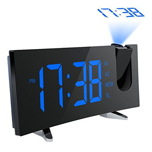 Projection Alarm Clock, [Curved-Screen] Pictek Projection Clock, Digital FM Clock Radio with Dual Alarms, 5 LED Display, USB Charging, Battery Backup