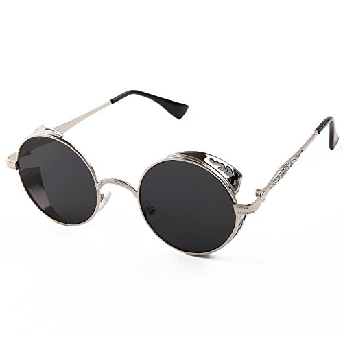 Sunny&Love Vintage Hippie Retro Metal Round Circle Frame Sunglasses (Sunnies Retro)