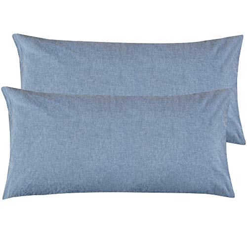 NTBAY King Size Stone Washed Cotton Pillowcase, 2-Pack Reduces Allergies and Respiratory Irritation Vintage Style Breathable Pillow Cases, Denim Blue