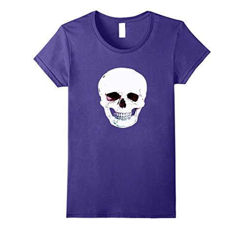 Womens Halloween Large Skull Costume Shirt Scary Skeleton Large Purple
