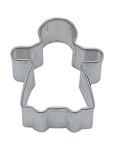 CybrTrayd R&M Gingerbread Girl Tinplate Steel Cookie Cutter, Mini, Silver, Lot of 12