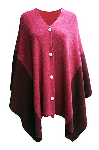 Women's Vintage Plaid Knitted Poncho Shawl Cape Button Cardigan Coat Wine Red