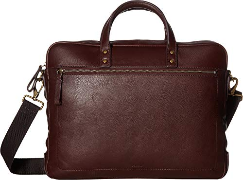 Fossil Men's Haskell Double Zip Workbag Black Cherry Briefcase, One Size ()