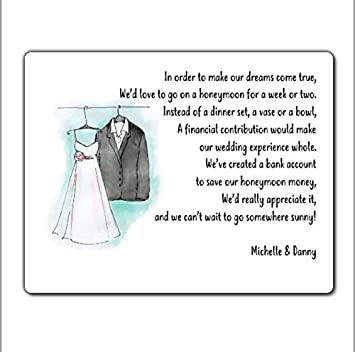 HONEYMOON WISH POEMS CARD GIFT POEM CARDS 10 PERSONALISED WEDDING MONEY POEM