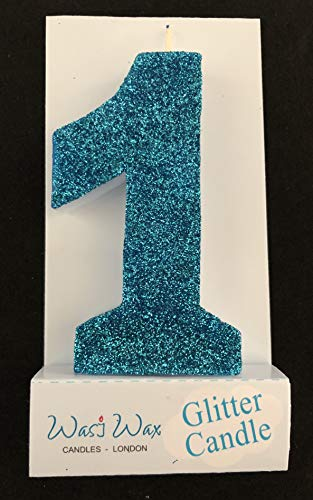 Wasiwax 3.25in (8.3cm) Large Ultra Sparkle Frozen Blue Glitter Birthday Number 1 Candle - Cake Topper - Choose Other Numbers 0-9 and Colours from Our Range - Nr 1