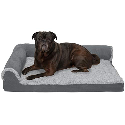 Furhaven Pet Dog Bed | Deluxe Cooling Gel Memory Foam Orthopedic Two-Tone Plush Faux Fur & Suede L Shaped Corner Chaise Lounge Sofa-Style Living Room Couch Pet Bed for Dogs & Cats, Stone Gray, Medium ()