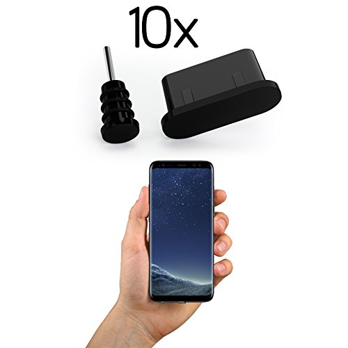 innoGadgets 10x Anti Dust Plugs for Smartphone, MacBook, Laptop | USB-C Dust Plug for Samsung Galaxy S8, S9, S10 | Silicone Dust Plug - Black ()