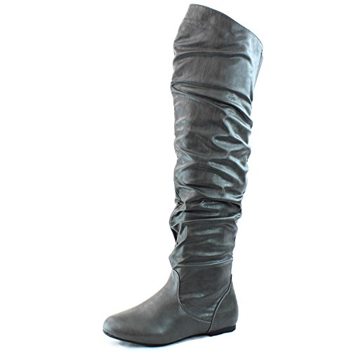 DailyShoes Damenmode-Hi Over-the-Knee Oberschenkel Hohe flache Slouchly Welle Low Heel Stiefel Graue Pu