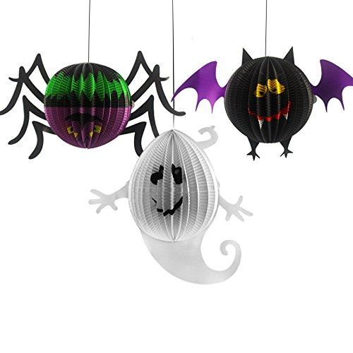 3pcs/set Halloween Decorated Props Pumpkin Ghost Bat Spider Witch Paper Lanterns Halloween bar Decorated Props