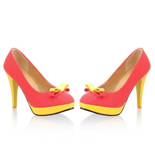 VogueZone009 Ladies Wedge Yellow Stiletto and Platform Round Toes Frosting PU Pumps with Bowknot Darkred hR036