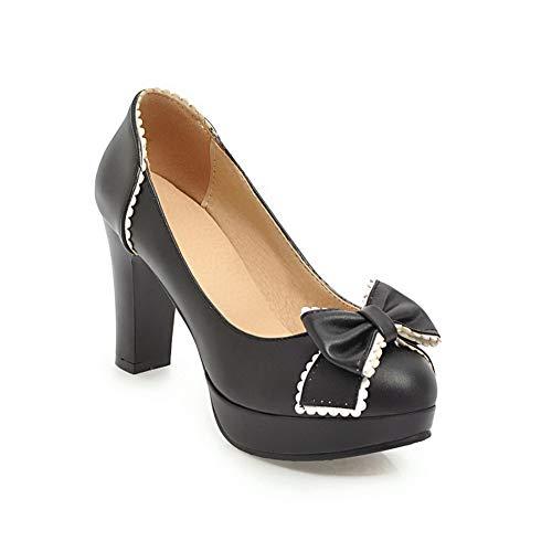 Solid APL10659 Urethane Pumps BalaMasa Shoes Black Platform Bows Womens ZCwqC0nx75